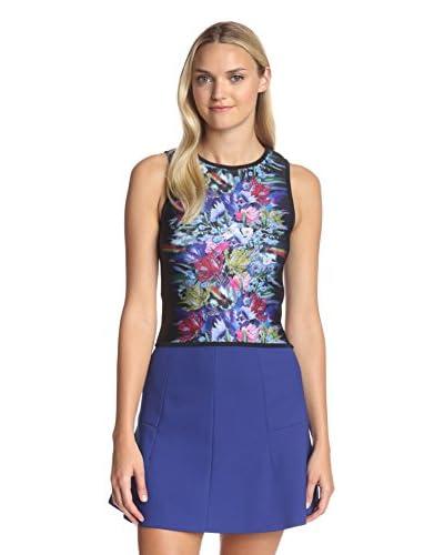Cynthia Rowley Women's Bonded Crop Top  [Black Blurred Floral]
