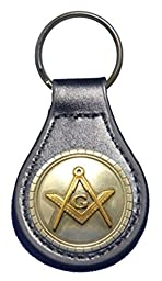 Square and Compasses leather key fob or key chain Black