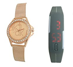 Combo Pack Of 2 Watches Copper Stainless Steel Strap & LED Watches (dk-158) ...