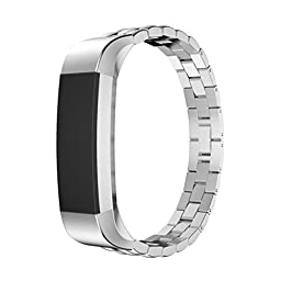 For Fitbit Alta Accessory Band, HP95(TM) Luxury Genuine Stainless Steel Watch Band Wrist Strap For Fitbit Alta Tracker (Silver)