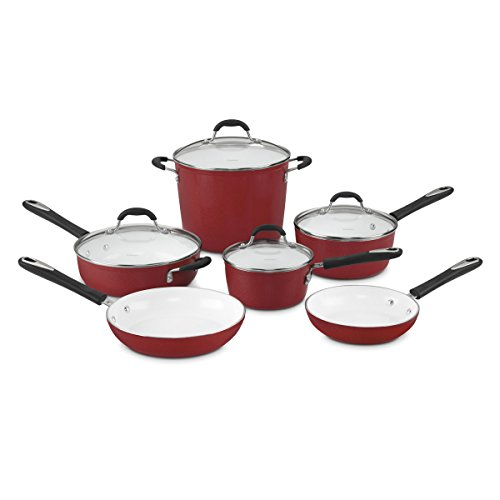 Cuisinart 59-10R Elements 10-Piece Cookware Set, Red