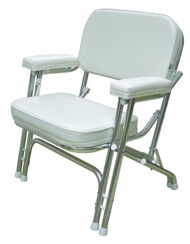 Wise Folding Deck Chair  Aluminum Frame, White