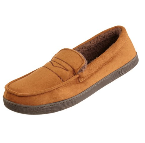 Isotoner Men's Microsuede Moc Slippers with Penny Loafer