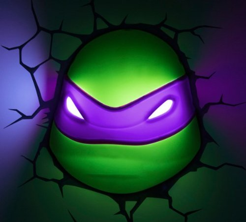 3D Deco Light ~~ Teenage Mutant Ninja Turtles / Donatello ~~ Looks Like Donatello The Turtle Has Broken Through The Wall! ~~ Games Room / Kids Room