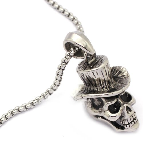 2 PIECE SET: Vintage 19-Inch Stainless Steel Rolo Chain Necklace With Skull In Hat Pendant (LIFETIME WARRANTY)