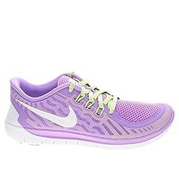 Girl\'s Nike Free 5.0 Running Shoe (GS) Fuchsia Glow/Black/Volt/White Size 5 M US