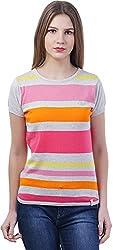 TSAVO Women's Regular Fit Top (1540_GREY_PINK, Pink, X-Large)