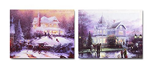 Led Lighted Canvas Victorian House Wall Art Picture Time For The Holidays Pair