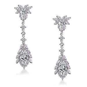 Bling Jewelry Vintage Teardrop CZ Chandelier Earrings