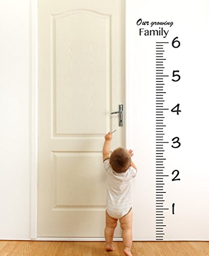 The Decal Guru Giant Vinyl Growth Chart Kit | Kids DIY Height Wall Ruler | Large Measuring Tape Sticker Number Decal Sticker (Black, 73x23 inches) (Large Ruler Growth Chart compare prices)