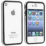 NOV@GO� Bumper Noir transparent / coque de contour TPU iPhone 4/4S avec boutons m�tallique -prot�ge iphone4(existe aussi en couleur blanche dans notre boutique)