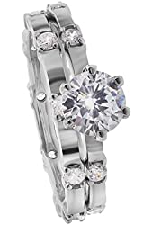 Rhodium Plated Sterling Silver Round Clear Cubic Zirconia Wedding Band Engagement Ring Set