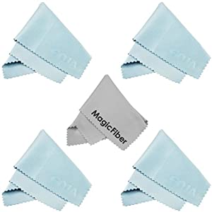 (5 Pack) MagicFiber Microfiber Cleaning Cloths for LCD screen, Camera Lens, Glasses and other delicate surfaces (4 Light Blue, 1 Grey) Removes fingerprints and oil with just a swipe!