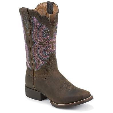 Amazon Com Justin Boots Dark Brown Rawhide Stampede