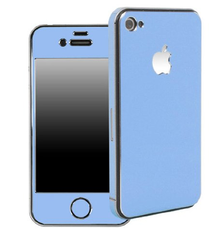 Apple Iphone 4/4S Aluminium Protective Sticker Skin Full Body Matte (Included Anti Finger Anti Glare Screen Protector Guard Film - 2 Pack) For Luxury Looks Diamond Cutting (Sky Blue)
