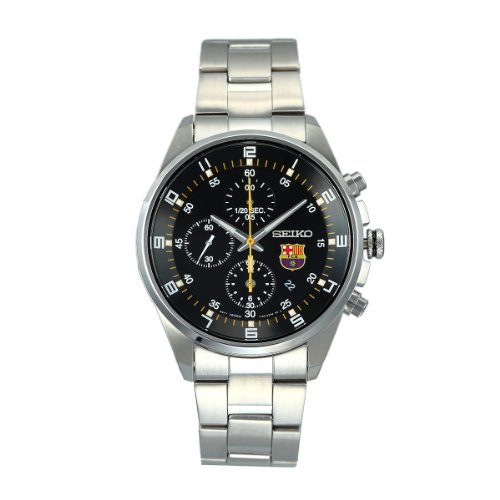Seiko Men's SNDD23 Silver Stainless-Steel Analog Quartz Watch with Black Dial