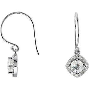 IceCarats Designer Jewelry 14K White Gold 1 1/3 Ctw Diamond Earrings.