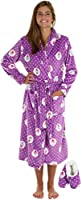 PajamaMania Women's Fun Printed Fleece Robe and Footie Gift Set
