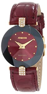 Jowissa Women's J5.013.M Facet Strass Gold PVD Dimensional Glass Maroon Leather Rhinestone Watch