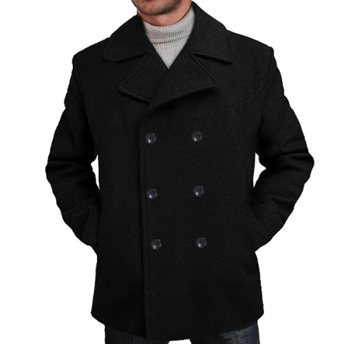 BGSD Men's Wool Blend Pea Coat in Black, Brown or Charcoal