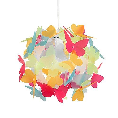 MiniSun Abat-Jour Abat Jour pour Lustre ou Suspension, Boule au Papillons Multicolore. Parfait pour enfants Ou Décor contemporain, Pour Douille de 28mm ou 42mm