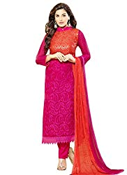 Adorn Fashion New Magenta & Orange Embroidered Dress Material