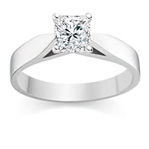 Diamond Manufacturers, Damen, Verlobungsring mit 0.41 Karat F/IF feinem und zertifiziertem Princessdiamant in 18 Karat (750) Weißgold