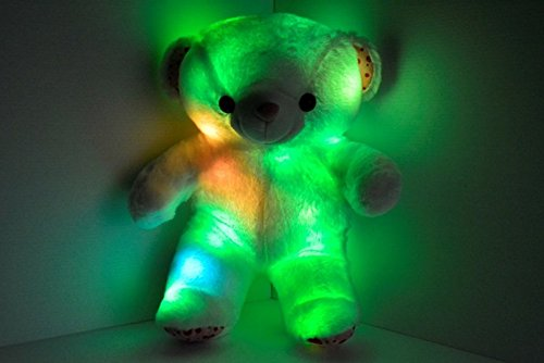 LED Light up Teddy bear Pillow- Cashmere & Cotton Blend - Safe LED Lights - Auto Color Rotation - bear Shaped Illuminated Pillow Pet Cushion Plush Toy
