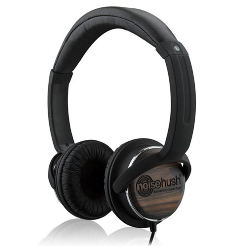 Noisehush 3.5Mm Stereo Headphones With In-Line Mic For Ipad/Iphone/Smartphone/Most Phones - Wired Headsets - Retail Packaging - Black/Wood
