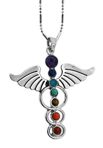 Seven Chakras Balancing Reiki Simulated Amethyst Pendulum Meditation Healing Necklace (Angel Wings)