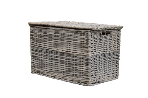 Grey Wicker Extra Large Storage Trunk / Basket / Toy Box / Hamper