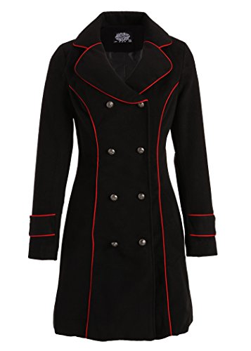 Black Retro Vintage Military Winter Jacket Coat with Red Piping - Size Medium