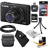 Canon PowerShot S120 12.1 MP CMOS Digital Camera with 5x Optical Zoom and 1080p Full-HD Video Ultimate Bundle With 32GB High Speed Card, Extra Battery,HDMI Cable, Card Wallet Case Cleaning Kit, Tripod & Reader