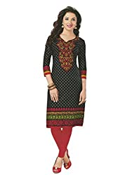 PShopee Black Cotton Printed Unstitched Kurti/Top Material