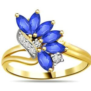 Diamond and Marquise Blue Sapphire 18kt Gold Ring