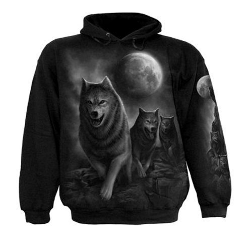 Spiral Direct Mens Wolf Wrap Sweatshirt Hood Top Black XXL 52-54