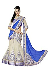 Georgette Party Wear Lehenga Choli in Blue and Cream Colour