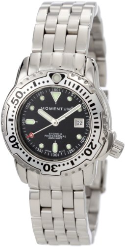 Momentum Ladies 1M-DV83B0 Storm II Black Dial Steel Bracelet Watch