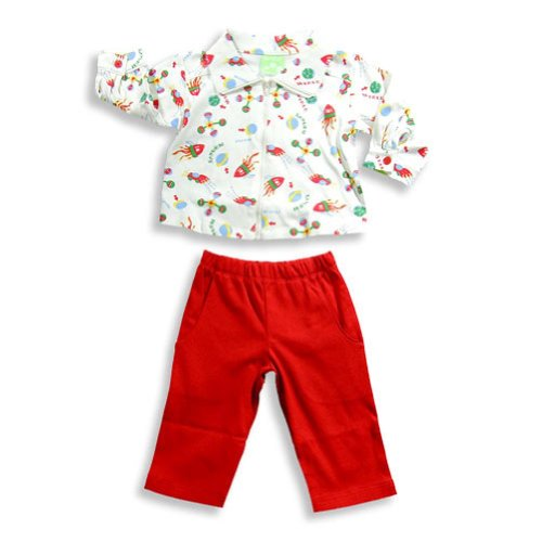 Snopea - Baby Boys Long Sleeve Rockets Pant Set, White, Red 17682-24Months front-502456