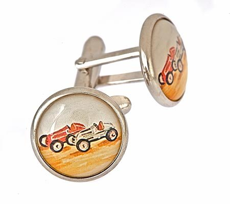 JJ Weston silver plated cufflinks with old style racing car image with presentation box. Made in the U.S.A
