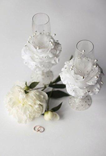 Flûtes de mariage avec fleur