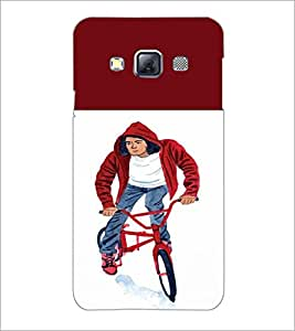 PrintDhaba Bicycle Boy D-2652 Back Case Cover for SAMSUNG GALAXY A3 (Multi-Coloured)