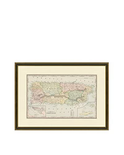 Vintage Print Gallery Antique Map Of Puerto Rico 1883-1903, Multi, 22 x 29