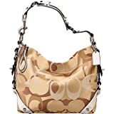 Coach Optic Signature Carly Hobo Handbag Khaki Parchment 11960