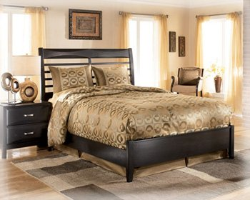 Kira Contemporary Queen Bed in Ebony Finish