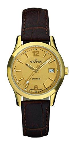 GROVANA 3209,1511 Dorado para mujer reloj infantil de cuarzo con esfera analógica y correa de piel color marrón 3209,1511