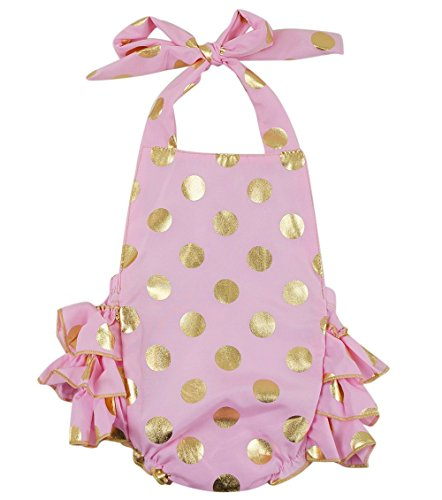 PoshPeanut® Toddler Baby Girls' Summer Dress Layered Romper Pink and Gold (M / 12 to 18 months , Pink/Gold )