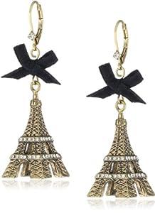 "Betsey Johnson ""Betsey Goes to Paris"" Eiffel Tower Drop Earrings"