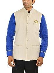 MR WHITE Men's Linen Jacket (Mr-white-JACKET-JODHPURI-01_40, Beige, 40)
