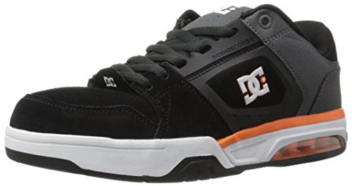 DC Men's Rival Skate Shoe, Grey/Grey/Orange, 9 M US